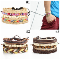 Multi- layer Weave Rope Cuff Braclete Beads Leather Bracelet ...