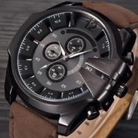 Mens Big Uhren Männer Leder-Gold-Quarz-Armbanduhr Männer Armee Einzigartige Uhren Erkek Saat Relogio Masculino DZ