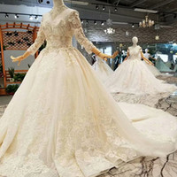 Shiny Muslim Wedding Gowns With Beaded High Neck Illusion Th...