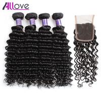 ALOVE 8-28 polegada profunda onda encaracolado wews 4 pcs pacotes de cabelo humano com fecho de renda extensões virgens brasileiras para mulheres todas as idades jet black