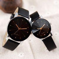 Hochwertige Quarzuhren Ankunft Männer Frauen Zifferblatt Uhr Lederarmband Armbanduhr Geometrie Sportuhr Liebhaber Armbanduhren