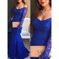 Elegante Royal Blue Mermaid Prom vestidos de hombro de encaje Sweep Train Long Party vestidos de noche árabe barato más tamaño