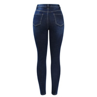 Crayon Pantalon New Arrived Jeans Taille Haute pour Femmes Stretchy Bleu Foncé Bouton Fly Denim Pantalons Skinny Pantalons