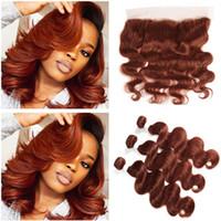 Copper Red Virgin Brazylijski Human Hair Wiązki z Frontals Ciała Fala # 33 Dark Auburn 13x4 Full Lace Frontal Zamknięcie z wiązek splot
