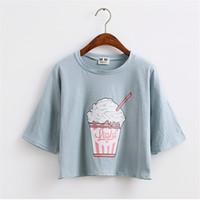 Nouvel été New Harajuku Femmes T-shirt Crème Glacée Style Coréen Coton Lâche Crop Oops Tops Kawaii T-Shirt Femme Tee Tops