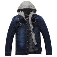 Giacca in denim di moda da uomo con cappuccio casual caldo da uomo Jean Giacca con cappuccio cappotto Plus Size lavato 4XL di spessore più giacca in velluto di jeans Spedizione gratuita