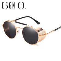 DSGN CO. Moderne Gothic Steampunk Sonnenbrillen für Männer und Frauen justierbare Abdeckung Runde Sonnenbrillen 8 Farbe UV400