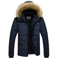 Abrigos gruesos de invierno para hombre Abrigos gruesos con cremallera de piel animal Abrigos negros con capucha de color caqui Envío gratis
