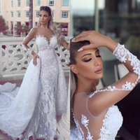 2018 Sexy Mermaid Wedding Dress Sheer Neck Long Sleeves Lace...