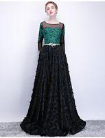 Элегантный Изумрудно-Зеленый Черный Вечерние Платья 2018 Scoop Шеи С Длинным Рукавом Бальное Платье Аппликация Плюс Размер Пром Платья
