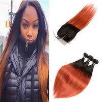 Brasilianisches Jungfrau-Menschen Ombre Haar Zwei Ton-Spitze-Schliessen mit Bundles Orange Farbe Gerade Ombre Haar mit 4 * 4-Spitze-Schliessen