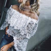 Szykowny mujeres encaje blusa moda de alta calidad tops y blusas 2018 verano frío tops de hombro blanco camisa de manga larga