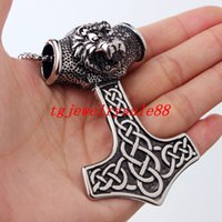 High Quality Viking Thor Hammer Pendant Silver Black Tone St...