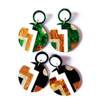 Free Shipping Black Green Mixed Color Resin Round Special Pretty Elegant Cute Sweet Earring For Women