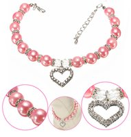 Bling Rhinestone Cat Dog Collar Pearl Necklace Alloy Diamond...