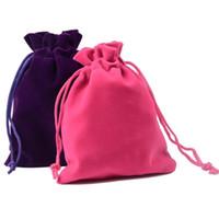 7x9cm Coloful Velvet Beutel Schmuck Verpackung Display Kordelzug Verpackung Geschenk Taschen Beutel Velour Farben Blau Schwarz Rot