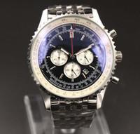 Новые мужские Кварцевые часы хронограф 46MM черный циферблат 316L серебро сталь ремешок сапфир Сплошные ремешок мужские спортивные часы