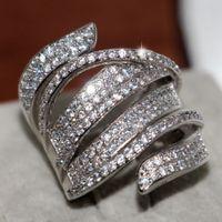 Taille 5-10 Vente Hot Big Promotion luxe Bijoux Superbe argent 925 Rempli Pave pleine Saphir Blanc CZ Diamant Femmes large bande Bague