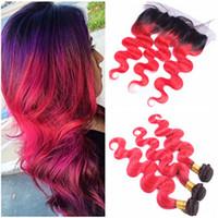 Body Wave # 1B / أحمر أومبير الأذن إلى الأذن 13x4 الرباط أمامي اختتام مع حزم نسج أومبير الأحمر العذراء بيرو الشعر البشري حزمة