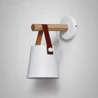 Yaratıcı Basit Duvar Lambası, Kırsal Ferforje Işık, Ahşap Kafa Kemer Duvar Aplikleri (Renk: Beyaz)