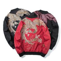Primavera y otoño de la mujer Phoenix bordado uniforme de béisbol pareja suelta bf Harajuku chaqueta