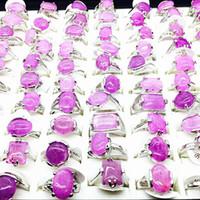 All'ingrosso Lots Lots 50pcs Donna Purple Purple Fashion Moda Bella Gioielli Anelli Brand New Mix Styles