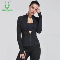 Autunno e in inverno le donne vestono femminile fitness Zip con cappuccio sportivo cappotto manica lunga vestiti di yoga giacca corsa rapida asciutta