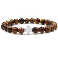 8mm olho de tigre de pedra oração buda pulseira de metal cruz encantos equilíbrio talão trecho yoga pulseira jóias