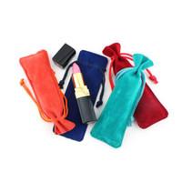 Joyería de terciopelo colorido con cordón bolsa de franela de bolsillo Perfume Toothpick lápiz labial bolsa de regalo bolsas de embalaje al por mayor QW8317