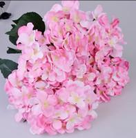 한 조각 (7 줄기 / 낱단) 51CM 긴 유럽 스타일 실크 인공 수국 꽃 가짜 꽃 부시 웨딩 부케 홈 인테리어에 대한