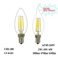 Светодиодная нитька накаливания E12 E12 E14 2W 4W 6W Edison свечи свечи 110 В 220 В 240 В C35 360 ° Clear Стеклянная лампа для хрустальной кулонской люстры