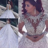 Роскошные вышитый бисером кристаллы Свадебные платья 2020 линии Sheer Jewel Шея Длинные рукава Аппликация Said Mhamad мусульманская Свадебные платья Мантия De Mariage