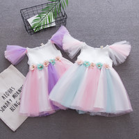 2018 New Girl Baby Rainbow dress summer princess fairy dress...