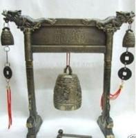 Буддийский старый Тибет латунь резные дракон Белл фигурка пение счастливый колокол античный украшения сада 100% настоящее Тибетское серебро латунь