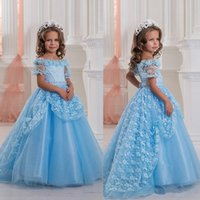 2018 baby Blue Off Shoulders Cute Baby Girl' s Pageant D...