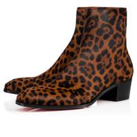 가을 / 겨울 신사 숙녀 럭셔리 발목 부츠 레드 밑면 Ziggissimo Leopard Print 조랑말 머리 쿠반 부츠 실루엣 남성 부츠 EU38-46