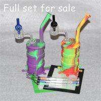 Quartz Thermal Banger 14mm 더블 튜브 석영 네일 열 석영 Banger 네일 용 실리콘 파이프 + 실리콘 왁스 패드 + 왁스 dabber 도구
