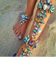 Pulsera de tobillo de lujo Bling Bling con cuentas de cristal con cuentas nupcial colorido retro para las sandalias de vacaciones en la playa Cadena atractiva de la pierna femenina barata