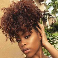 Kurze Hohe Pferdeschwanz Afro Puff Lockige Pferdeschwanz Haarverlängerung Schwarz Indisches Reines Haar Kordelzug Pferdeschwanz Für Schwarze Frauen 120g