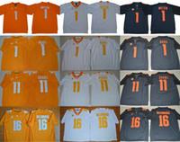 NCAA Tennessee Gönüllüler Koleji 1 Jason Witten Jalen Hurd Portakal Mavi Beyaz Dikişli 11 Dobbs 16 Peyton Manning Üniversitesi Futbol Forması