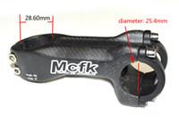 MCFK Bicicleta haste 3 K carbono fibe MTB bicicleta dobrável haste para 25.4mm guiador peças de ciclismo fosco