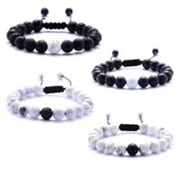 Lava sten armband pärlstav vävning svart agat vit sten armband natursten armband för kvinnor mode smycken hantverk 8mm pärlor