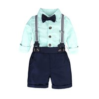 2018 neue Herbst-Baby-Sets Boy Herren Langarm-Shirt + Suspenser Shorts Hosen 2 PC-Klagen Kids Fashion Outfits Kleidung Z11