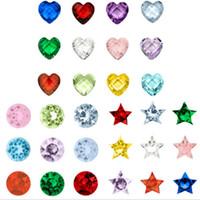 120pcs / lot 12 colori fascini Piccolo Compleanno di pietra misura per Vetro memoria vivente regalo galleggiante Locket per i bambini gli uomini delle donne