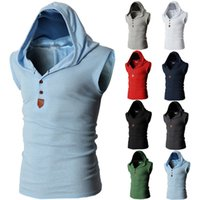 Men Sleeveless Vest Top Men Solid Hooded T- shirt Sport Shirt...