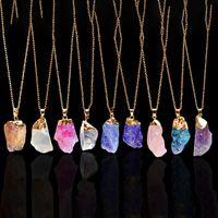 Crystal Quartz Healing Point Chakra Perle natürlichen Edelstein Halskette Original Anhänger Frauen Männer Schmuck vergoldet Ketten Erklärung Halsketten