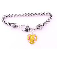 Спорт стиль античный Щепка покрытием цинка шипованных с игристых Кристалл софтбол форме сердца кулон Шарм Пшеничный браслет