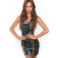 Yeni avrupa moda kadın seksi yılan baskı spagetti kayışı bodycon tunik kalem elbise artı boyutu Sml