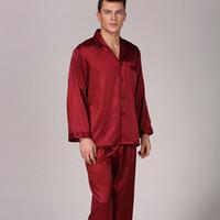 ربيع الخريف الأحمر الرجال الكامل الأكمام منامة مجموعة الساتان لطيف 2 قطع النوم كيمونو البشكير ثوب حريري المنزل ارتداء زائد حجم xxxl