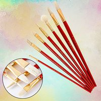 7 Pcs Watercolor Oil Painting Bristle Brush Sets Assorted Re...
